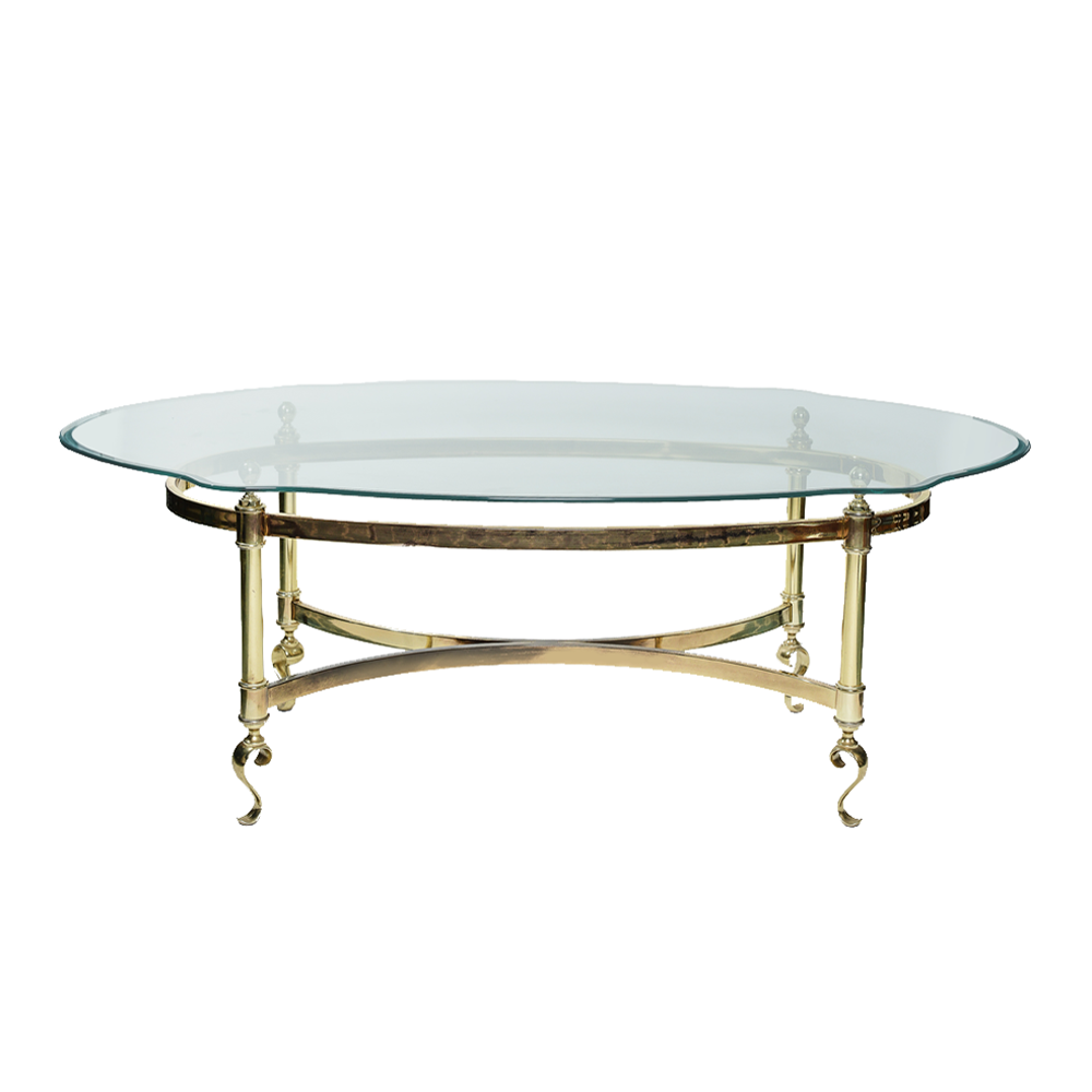 A Vintage Brass Coffee Table With Its Oval Subtle Scallop Edge Glass Top Is  Perfect For Any Lounge Vignette!